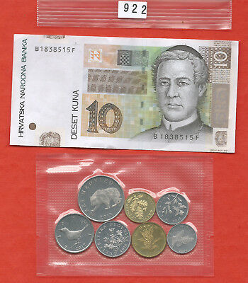 Lot 922: CROATIA coin and banknote collection lipas to 10 kuna XF-aUnc FREE SHIP