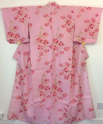 Japanese pink summer yukata for women, M, Japan import, used (AC1733)