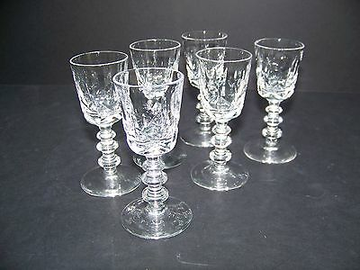 CRYSTAL CORDIAL GLASSES - TIFFIN-FRANCISCAN - SET OF SIX - Pattern 17301-20