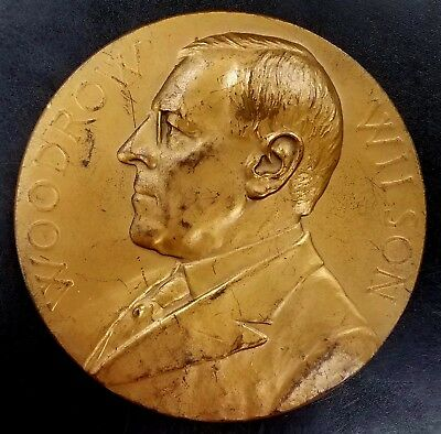 1917 Woodrow Wilson second term Inauguration Bronze Medal! 77 mm, 230 grams!
