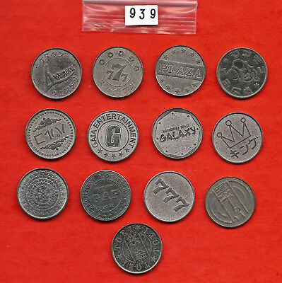 Lot 939: Vintage PACHISLO Japan Slot Machine TOKEN collection 13 different nice