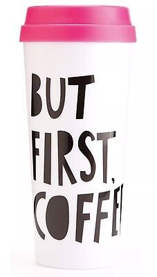 Hot Stuff Insulated Thermal Mug But First Coffee Print Holds 16oz Bando Pink Lid