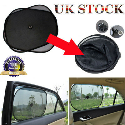 2Pcs Black Plain Car Window UV Mesh Sun Shades Blind Kids Baby Children Sunshade