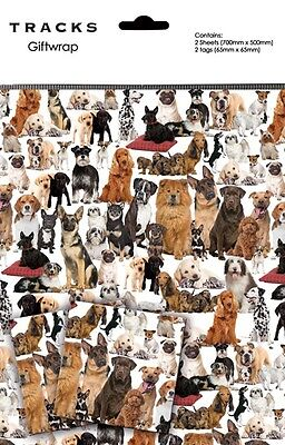 Gift Wrap Present Wrapping Paper Cute Dogs Puppies With Matching Tags