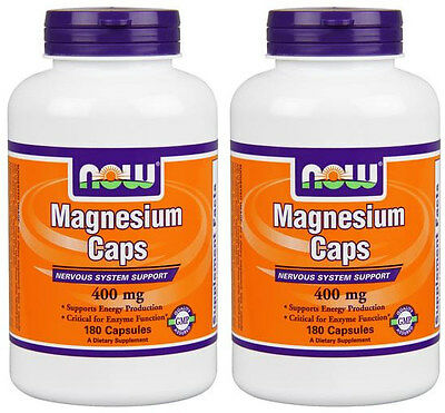 2-Pack Of Magnesium Caps 400 mg 180 Caps, Now Foods, Energy