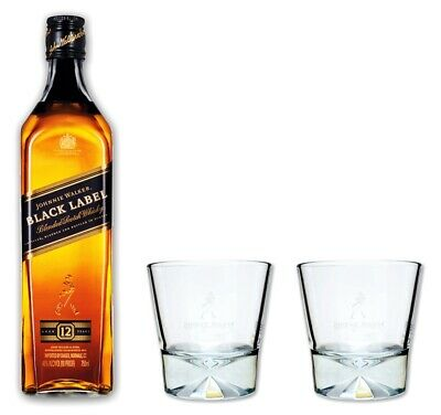 Johnnie Walker Whisky Black Label 40% 0,7l Set mit 2 Tumbler Gläser - Glas