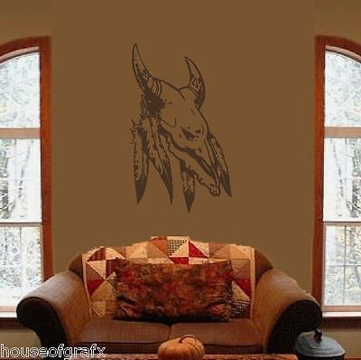 166263e35 Indian Native American Feathers Skull Wall Art Decal Decals Stickers Mural