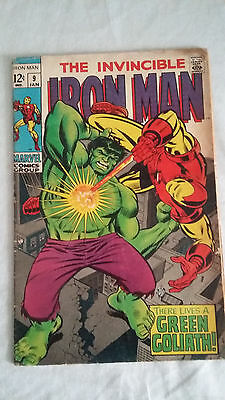 Iron Man Vol. 1 #9 Silver Age  Hulk App Marvel Comics  1969 VG See pictures