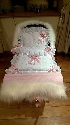 pink DOLLS PRAM QUILT SET FOR SILVER CROSS COACH BUILT FUR HOOD TRIM + HAND MUFF