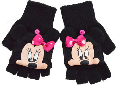 Girls Disney Minnie Mouse Winter Thermal Fingerless Knitted Mitten Combo Gloves