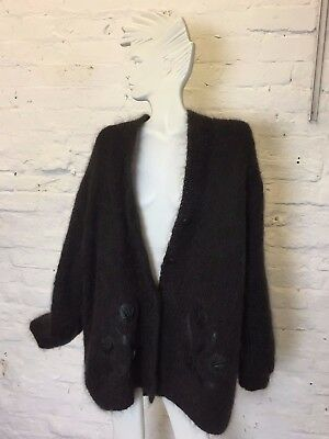 Vintage Retro 80s Oversize Black Mohair Cardigan With Leather Detail