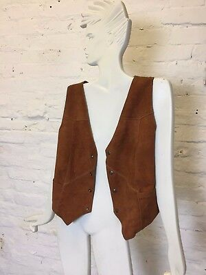 Vintage Retro 70s Medium Tan Suede and Silk Waistcoat
