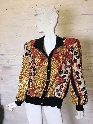 Vintage Retro Large 90s Versace Style Patterned Cardigan