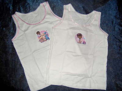 2 pack DOC McSTUFFINS GIRLS WHITE VESTS - AGES  18/.24M - 2/3 - 3//4 - 4/5 years