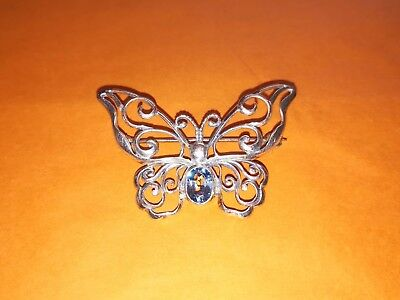 Charming silver Butterfly brooch with pale blue stone