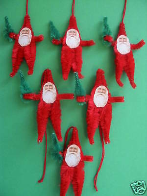 Primitive Vintage Style Little Santa Ornaments Tags Chenille Feather Tree