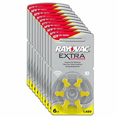 Rayovac Extra Advanced Zinc Air Hearing Aid Batteries, Size 10, Yellow Tab, Pack