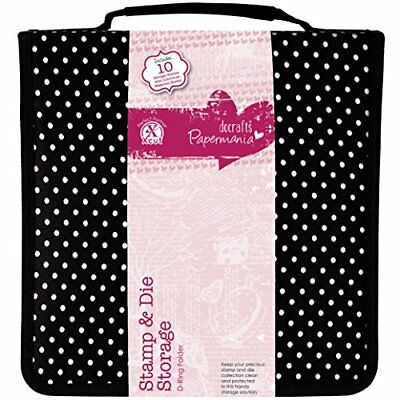 docrafts Papermania Stamp and Die Black Polka Dot Storage Case with 10 Pockets C