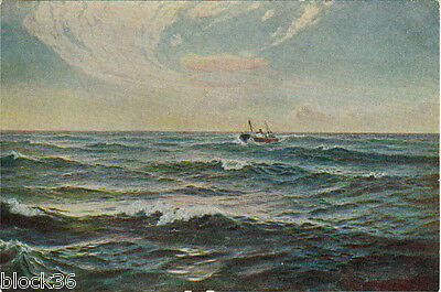 1952 Soviet postcard IN THE MARITIME SPACE (THE WHALER) by Russian artist E.Lvov