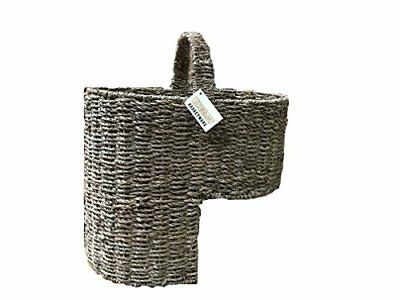 Woodluv Large Seagrass Stair BasketStep Storage Basket with Handle, Natural