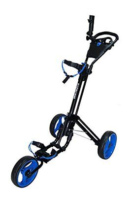 Qwik-Fold 3 Wheel Golf Trolley Push Pull Golf Cart - Foot Brake - One Second To