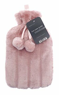 Hot Water Bottles with Luxury Faux Fur  Pom Poms by Country Club 2 Litre Pink