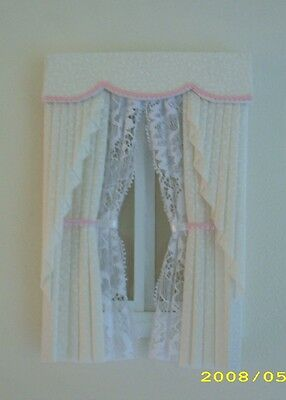 Dollshouse Curtains Cream & Pink Swag With Tied Nets