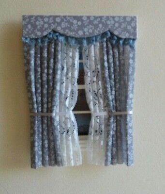 Dolls House Curtains Grey Miniprint With Tied Nets
