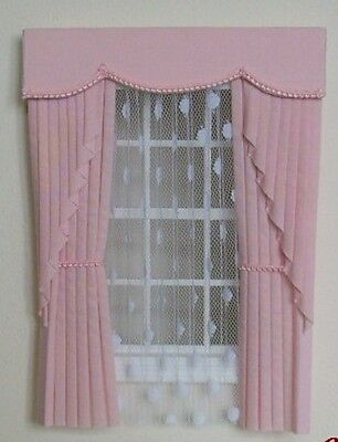 Dolls House Curtains Baby Pink  Swag Effect