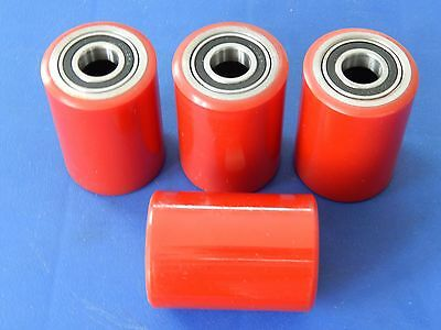 4 Piece Casters - Pallet Truck - Hand Made From Polyurethane 50 x 70 mm Used