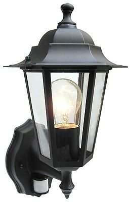 Traditional 6 sided wall lantern with PIR sensor comes in Black FREE LED BULB
