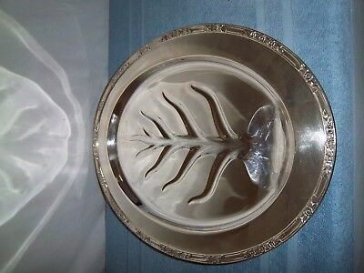 Rogers & Bros. 2310 Silver Plate Footed Meat Cutter Platter Tray with Well