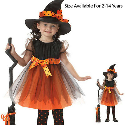Halloween Party Dresses Hat Outfit Child Kids Baby Girls  Fancy Clothes Costume