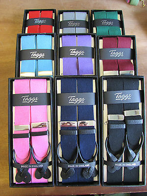 Men's Luxury boxcloth braces with black leather ends, various colours.