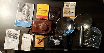 Vintage Argus C3 Camera with Flash attachment and accessories - working!