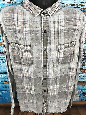 Lot Of 2 Mens Modern Amusement Distressed Plaid Button Front Shirts Sz XL A002