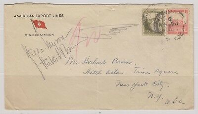 Palestine Sc. 65, 77 Mosque of Omar Citadel on Cover Jerusalem to New York