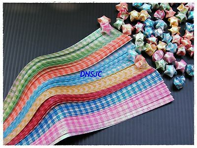 140 strips Origami Papers Folding DIY. Shiny Plaid, Lucky Wishes Star 19x0.7 cm.