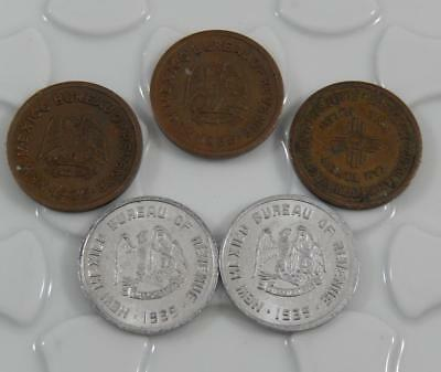 New Mexico 1935 1 & 5 Mill Mills Emergency School Tax Token Lot of 5 C0530