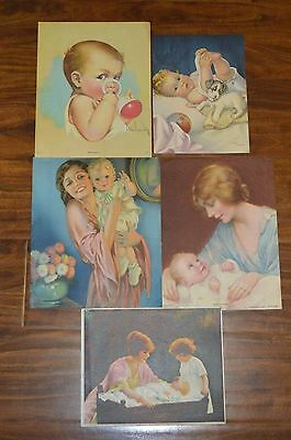 5 Vintage Lithograph Baby Prints, Cute as can be!  Amazing 1910-1940's, Exc Cond