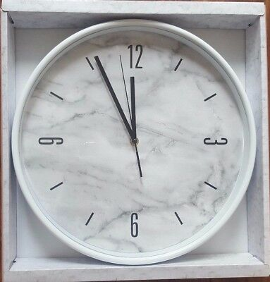 Bn Large White Grey Marble Effect Round Kitchen Bedroom Wall Clock Next Day Desp