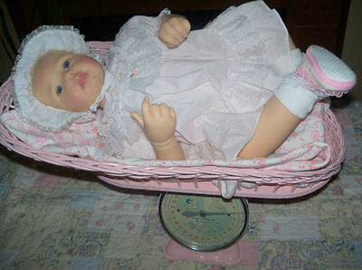 Vintage Decorative Pink Wicker Baby Scales Fabulous Photo Prop