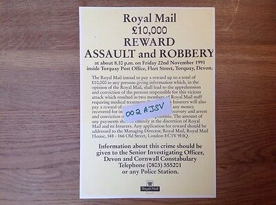 Post Office Wanted poster, Royal Mail