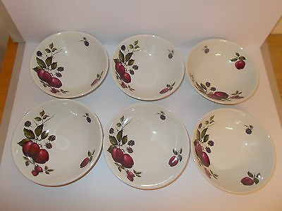 6 x Vintage Ridgway Ironstone Bromsgrove Fruit Design Cereal Soup Bowls Lovely