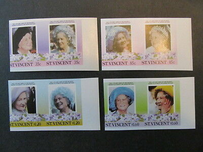 St Vincent, Sc# 861-864, Queen Mothers Birthday, Imperfs Set, Mint
