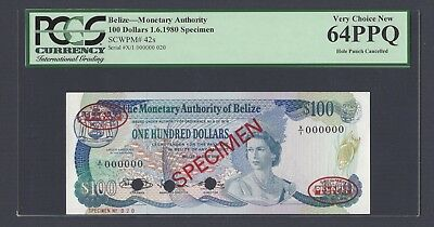 Belize 100 Dollars 1-6-1980 P42s Specimen TDLR Uncirculated