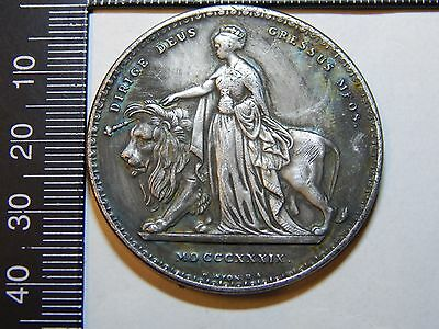 1839 una and the lion silver plated crown sized 175th anniversary queen victoria