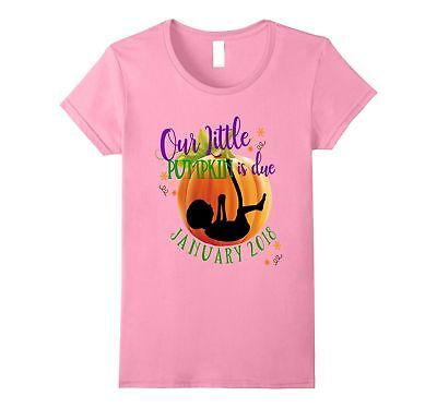 Pregnancy Shirt Baby Our Little Pumpkin Is Due January 2018 Pink Female XL