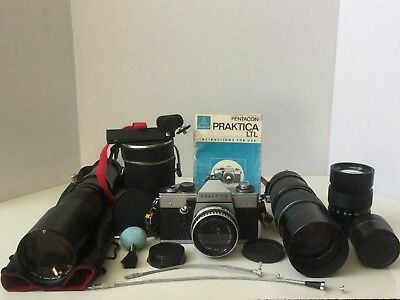 Praktica LTL Camera Carl Zeiss Lens (1970's) Plus 3 Lenses Teleconverter & More