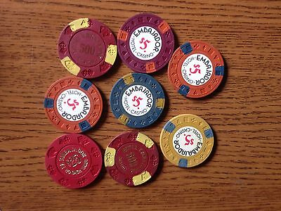 8 Poker Chips from the Embajador Hotel Casino Dominican Republic